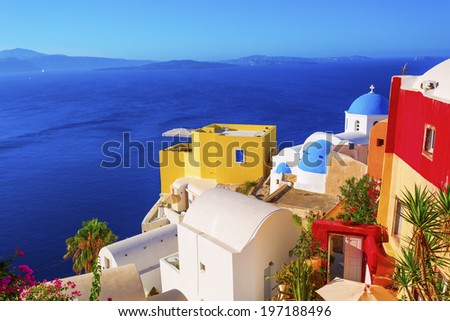 Santorini island in Greece  - stock photo