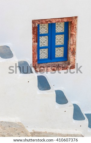 Santorini island with typical house in Greece - stock photo