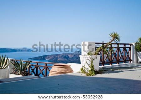Santorini's terrace - stock photo
