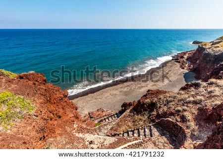 Santorini seacoast and beach view. Santorini island, Greece.  - stock photo