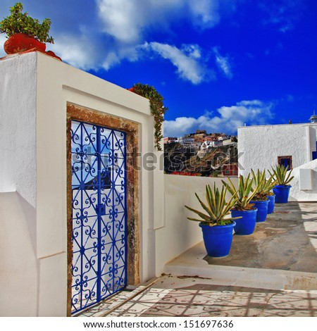 Santorini streets - stock photo