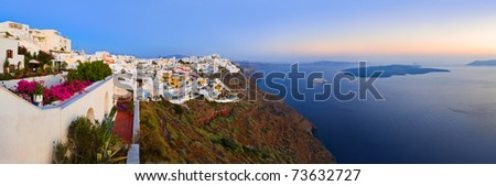 Santorini sunset (Firostefani) - Greece vacation background - stock photo