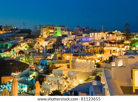 Santorini sunset (Firostefani) - Greece vacation background - stock photo