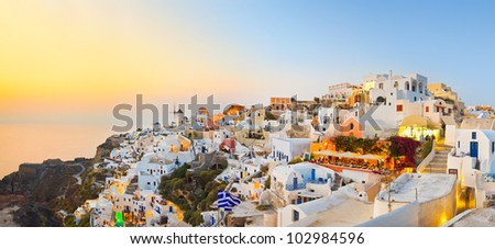 Santorini sunset (Oia) - Greece vacation background - stock photo