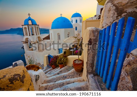 Santorini Sunset Pathway View - stock photo