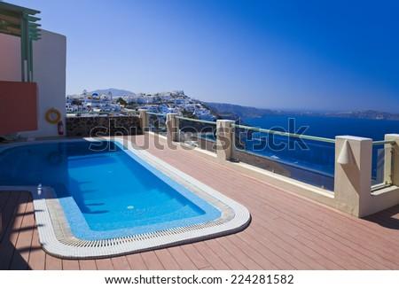 Santorini view - Greece (Firostefani) - vacation background - stock photo