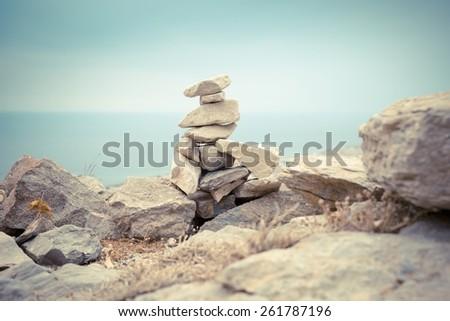 Santorini vista ancient greece archeology historical site rocks ruins ancient thira - stock photo