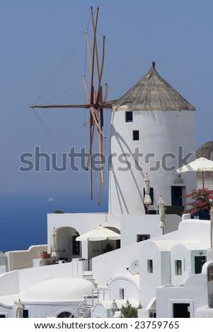 Santorini windmill - stock photo