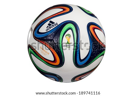 SAO PAULO - APRIL 28, 2014: Adidas Brazuca World Cup 2014 Football, The Official FIFA Matchball for the 2014 World Cup. - stock photo
