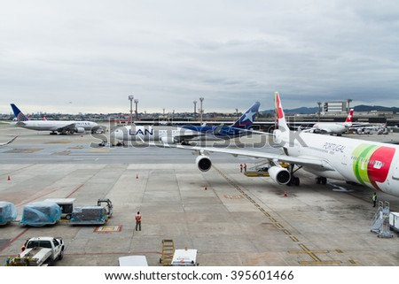 SAO PAULO, BRASIL - JAN 20: TAP plane parks at Guarulhos International Airport in Sao Paulo on Jan 20, 2016. GRU is the Brasil's main international airport, located in Sao Paulo