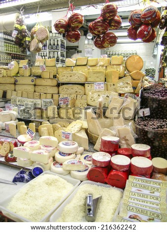 SAO PAULO, BRAZIL, AUGUST 30, 2003. mixed cheese in market - stock photo