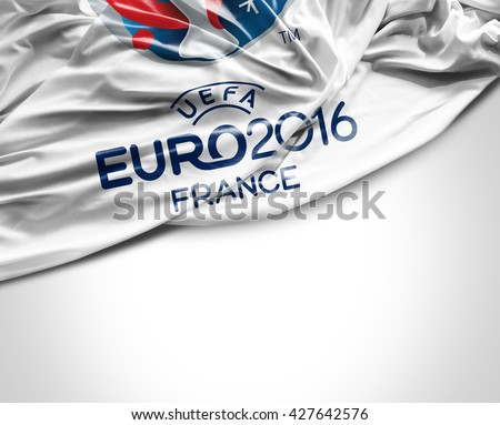 SAO PAULO, BRAZIL - CIRCA MAY 2016: Flag with Euro 2016 UEFA