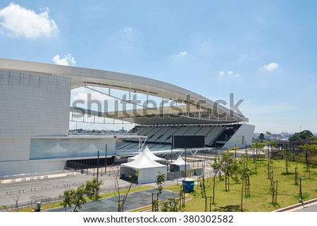 SAO PAULO, BRAZIL - FEB 19: Arena Corinthians in Itaquera on February 19, 2016. The Arena is new stadium of Sport Club Corinthians Paulista and was the Arena for the 2014 World Cup.