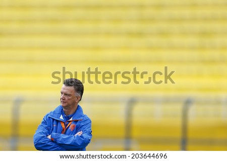 SAO PAULO, BRAZIL - July 8, 2014: Coach Louis Van Gaal during Netherlands training session at Arena Corinthians in preparation for the semi-finals game against Argentina. NO USE IN BRAZIL. - stock photo