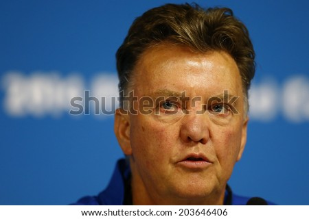SAO PAULO, BRAZIL - July 8, 2014: Coach Louis Van Gaal of Netherlands during a press conference at Arena Corinthians one day before the game against Argentina. NO USE IN BRAZIL. - stock photo