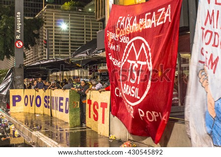 Sao Paulo, Brazil, June 01, 2016. Camp of people linked to MTST (movement of the homeless)  at Paulista avenue  during a protest against the government of interim president Michel Temer in Sao Paulo - stock photo