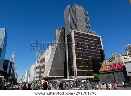 Sao Paulo, Brazil - June 28. Sunday, opening the cycle lane at Avenida Paulista, the financial center of Sao Paulo on June 28, 2015 in Sao Paulo, Brazil.