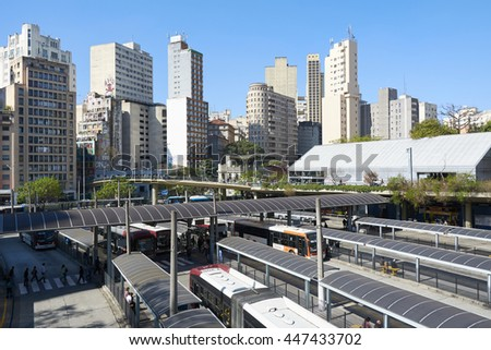 Sao Paulo, Brazil - June 27, 2016: View of Terminal Bandeira, a bus terminal in the city of Sao Paulo, Brazil.