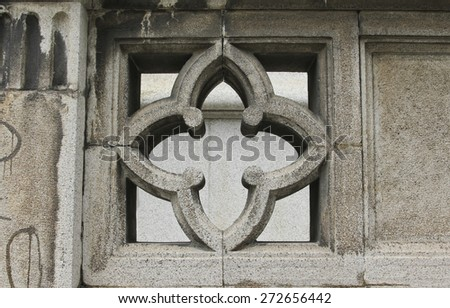 SAO PAULO, BRAZIL - MARCH 8, 2015: Detail of traditional stone art on bas relief on Nossa Senhora Auxiliadora Catholic Church in Sao Paulo Brazil. - stock photo