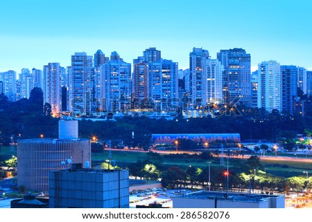 Sao Paulo,  Brazil - May 03 2015 : An estimated 20 million people live in greater Sao Paulo, making it the third-largest metropolis on earth. On May 03, 2015 Sao Paulo, Brazil. - stock photo