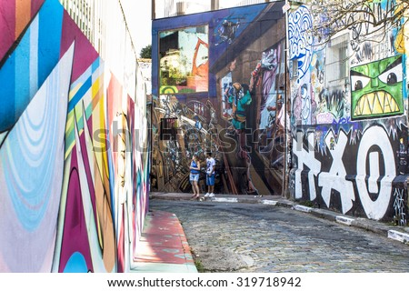 Sao Paulo, Brazil, September 21, 2015. Beco do Batman is a popular tourist destination because of the dense concentration of graffiti that line the streets.in the Vila Madalena neighborhood