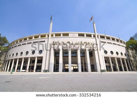 SAO PAULO, BRAZIL - SEPTEMBER 23, 2015: Pacaembu Stadium (Estadio Municipal Paulo Machado de Carvalho) hosts professional soccer games and also is home to the Museum of Football in Sao Paulo, Brazil - stock photo