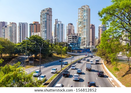 SAO PAULO, BRAZIL - SEPTEMBER 01: The highway and business center in South America on September 01, 2013 in Sao Paulo, Brazil. Sao Paulo Is the most important financial hub in South America. - stock photo
