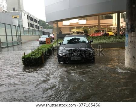 SAO PAULO - FEBRUARY 15: Floods after heavy rain on the streets of Sao Paulo, Brazil on February 15, 2016 - stock photo