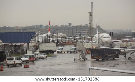 SAO PAULO � MARCH 26: Flights delayed at the Guarulhos International Airport due to bad weather on March 27, 2013 in Sao Paulo.  - stock photo
