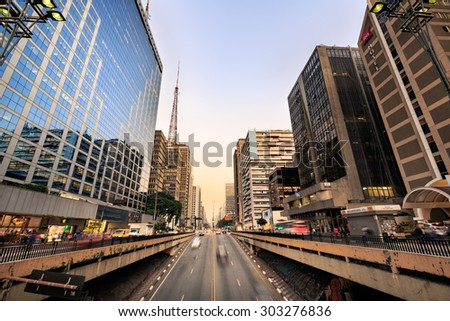 Sao Paulo: Paulista Avenue (Avenida Paulista is one of the most important avenues in Sao Paulo, Brazil, headquartering a large number of financial and cultural institutions, on August 1st, 2015.