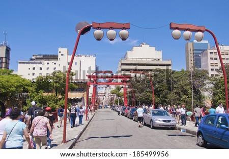 Sao Paulo - September 21: Liberdade Street neighborhood. Neighborhood most Japanese immigrants arrived in Brazil in the early twentieth century XX- Sao Paulo, Brazil, september 21, 2013. - stock photo