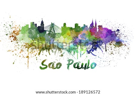 Sao Paulo skyline in watercolor splatters with clipping path - stock photo
