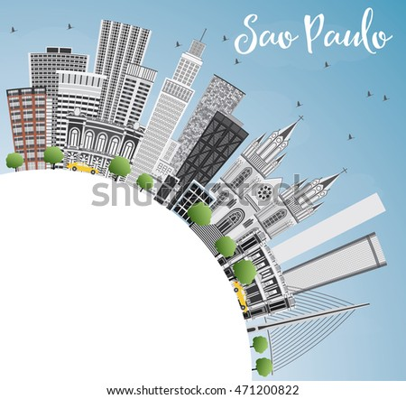 Sao Paulo Skyline with Gray Buildings, Blue Sky and Copy Space. Business Travel and Tourism Concept with Modern Buildings.