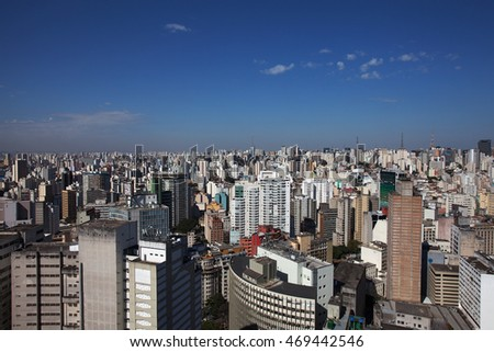 SAO PAULO, SP/BRAZIL, JULY 27, 2016: Lots of buildings from downtown area of Sao Paulo, Brazil. Skyline of the biggest city of South America.