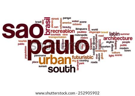 Sao Paulo word cloud concept - stock photo