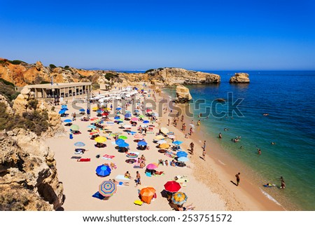 Sao Rafael beach in Albufeira, Algarve region, Portugal - stock photo