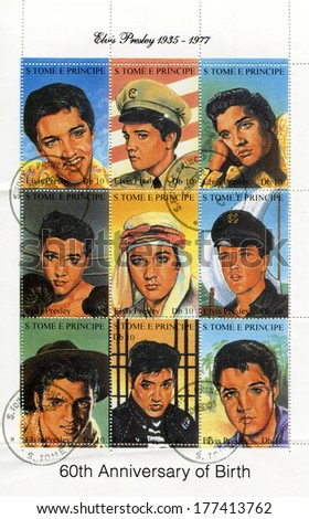 SAO TOME AND PRINCIPE - CIRCA 1995. A postage stamps printed by S.Tome and Principe shows image portrait of famous American singer Elvis Presley (1935-1977), circa 1995.  - stock photo