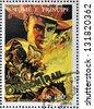 SAO TOME AND PRINCIPE - CIRCA 1995: A stamp printed in Sao Tome shows movie poster The Oregon Trail, circa 1995 - stock photo