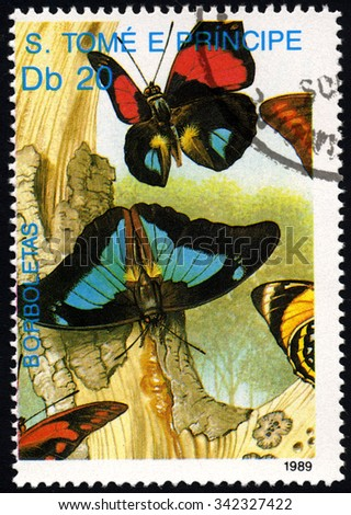 SAO TOME AND PRINCIPE - CIRCA 1989: A stamp printed in Sao Tome shows Tree Bark & Butterflies, circa 1989