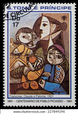 SAO TOME AND PRINIPE - CIRCA 1981: a stamp printed in Sao Tome and Principe shows Claude and Paloma, Painting by Pablo Picasso, circa 1981 - stock photo