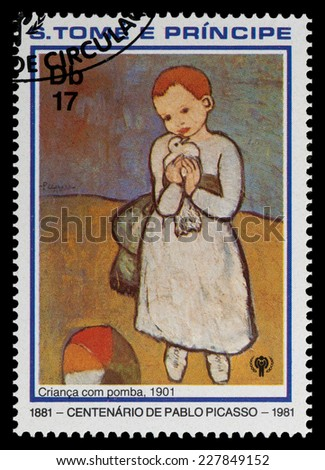 SAO TOME AND PRINIPE - CIRCA 1981: a stamp printed in Sao Tome and Principe shows dove into the hands of the girl, Painting by Pablo Picasso, circa 1981 - stock photo