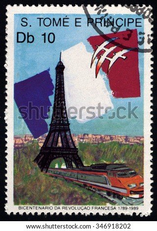 SAO TOME E PRINCIPE - CIRCA 1989: A stamp printed in Sao Tome to commemorate French Revolution Bicentenary shows French Flag, Train and Eiffel Tower, circa 1989 - stock photo
