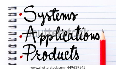 SAP Systems Applications Products written on notebook page with red pencil on the right