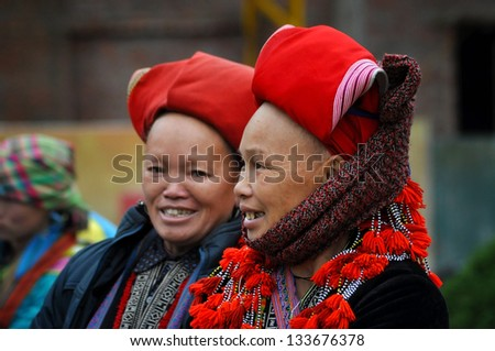 SAPA - FEB 22: Unidentified woman from the Red Dao Minority group with a turban. Red Dao Minority are the 9th largest ethnic group in Vietnam. On Feb. 22, 2013 in Sapa, Vietnam