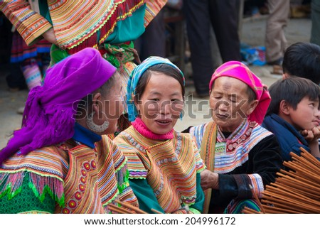 SAPA, VIETNAM - Dec 8: a group of Hmong-an ethnic minority in Sapa Vietnam on Dec 8, 2013 - stock photo