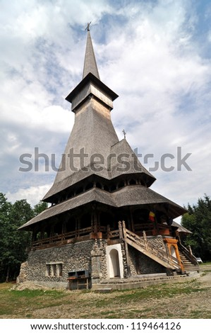 Sapanta orthodox wooden monastery, the highest wooden church in the world - stock photo