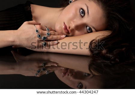Sapphire, diamond necklace and earring - stock photo