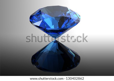 Sapphire.Jewelry gems roung shape on black background - stock photo