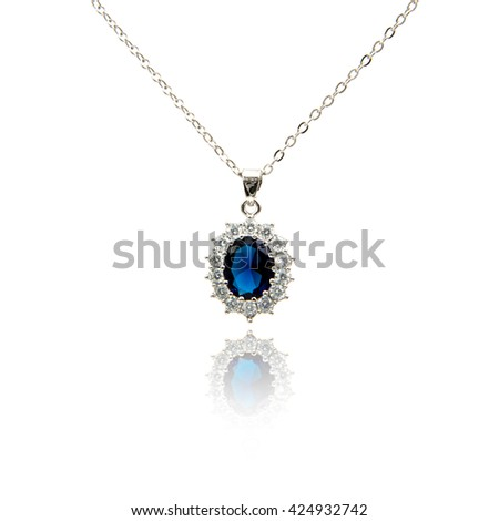Sapphire pendant isolated on white