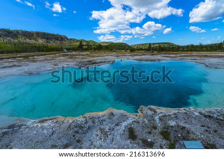 Sapphire Pool Biscuit Basin Yellowstone National Park - stock photo